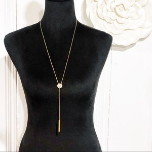 Madewell Gold & Stone Lariat Necklace